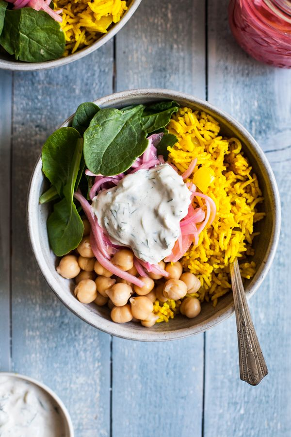 These simple turmeric rice bowls with quick pickled onions & chickpeas make for a complete, flavorful, and colorful meal!