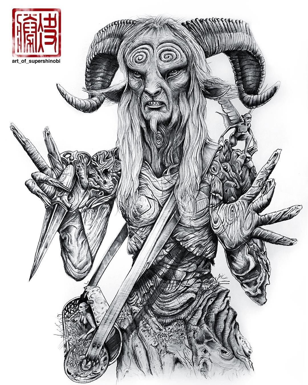 Regram art of supershinobi the faun pans labyrinth loved this movie by guillermo del toro hope you guys enjoyed seeing the progress 10hrs using