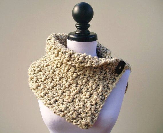 Hand Crocheted Cowl Scarf The Lucienne Cowl In Oatmeal Fall
