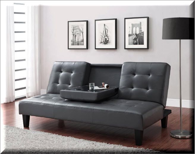 Convertible Futon Sofa Bed Sleeper Faux Leather Gray Living Room Furniture