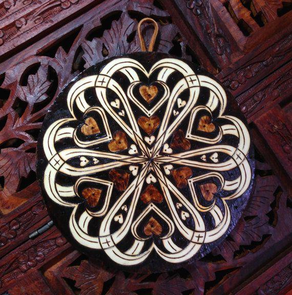 heart mandala wall hanging spiritual wall art wood mandala
