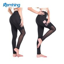 European and American women outdoor fitness running tight pants mobile phone pocket leggings to dry breathable mesh yoga pants