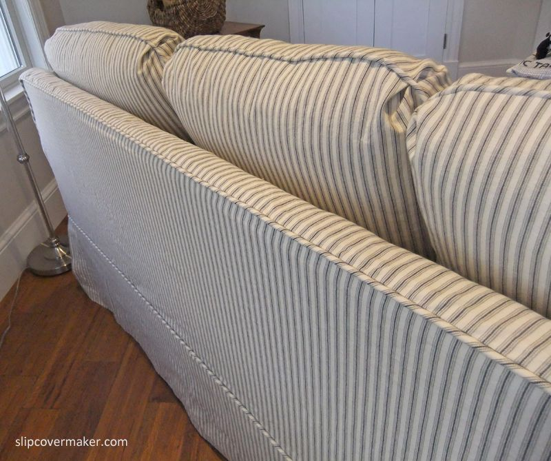 Original Attached Back Cushions Are Now Loose And Looking Good! Custom  Slipcover In Cotton Ticking