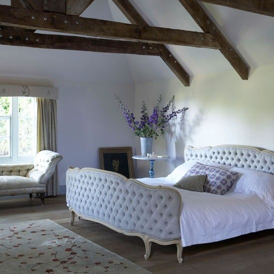 Cottage Bedroom Design 17th century cottage. rustic wooden floorboards with chalky