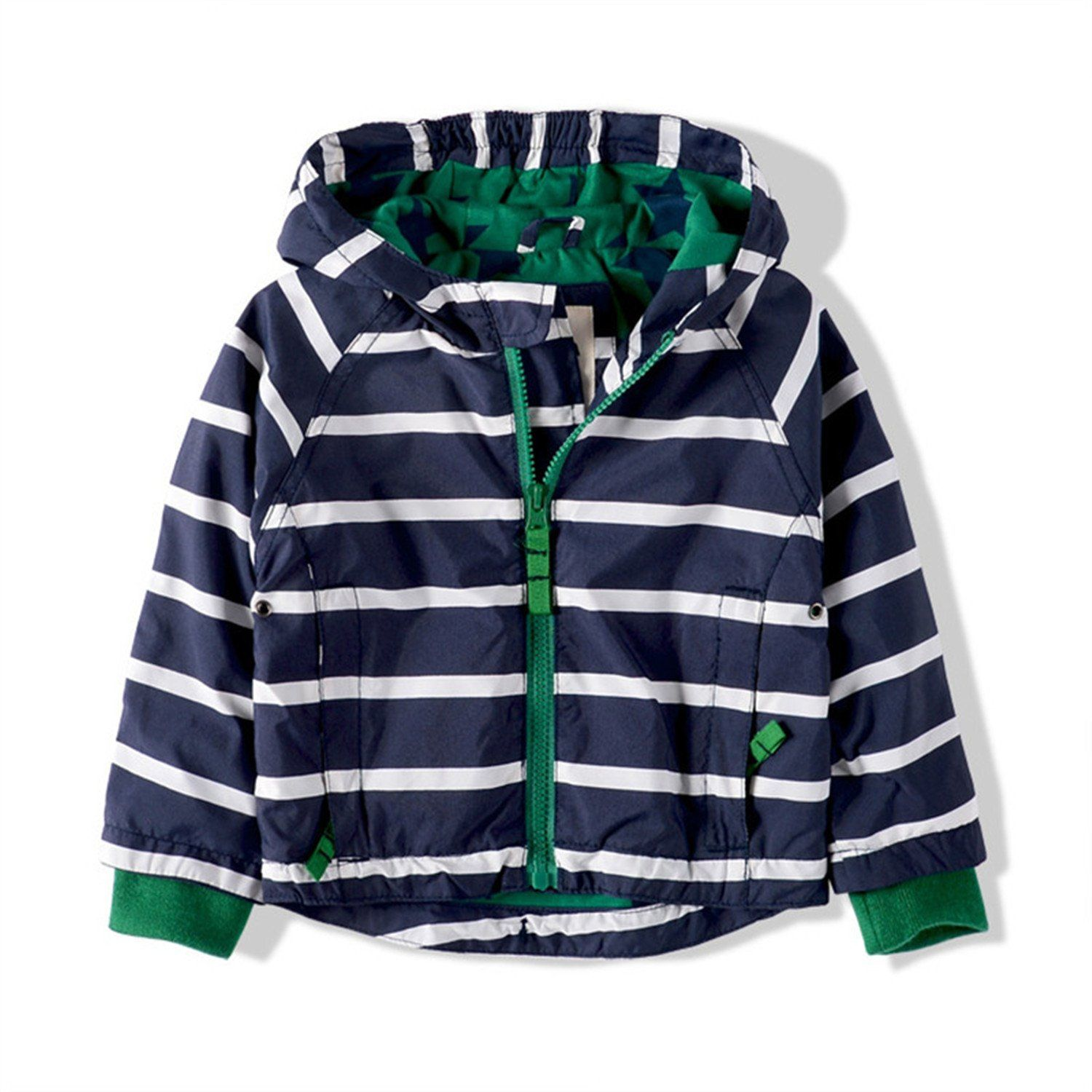 ebc8a71bc234 Octavehu Kids Toddler Boys Jacket Coat Spring Autumn Striped Hooded ...