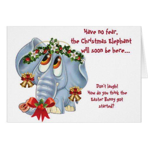 humorous funny christmas elephant holiday card  custom