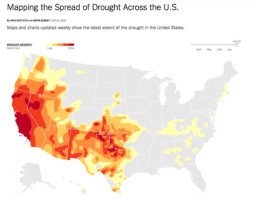 Mapping The Spread Of Drought Across The U S Interactive Time Series Version Of Map Along