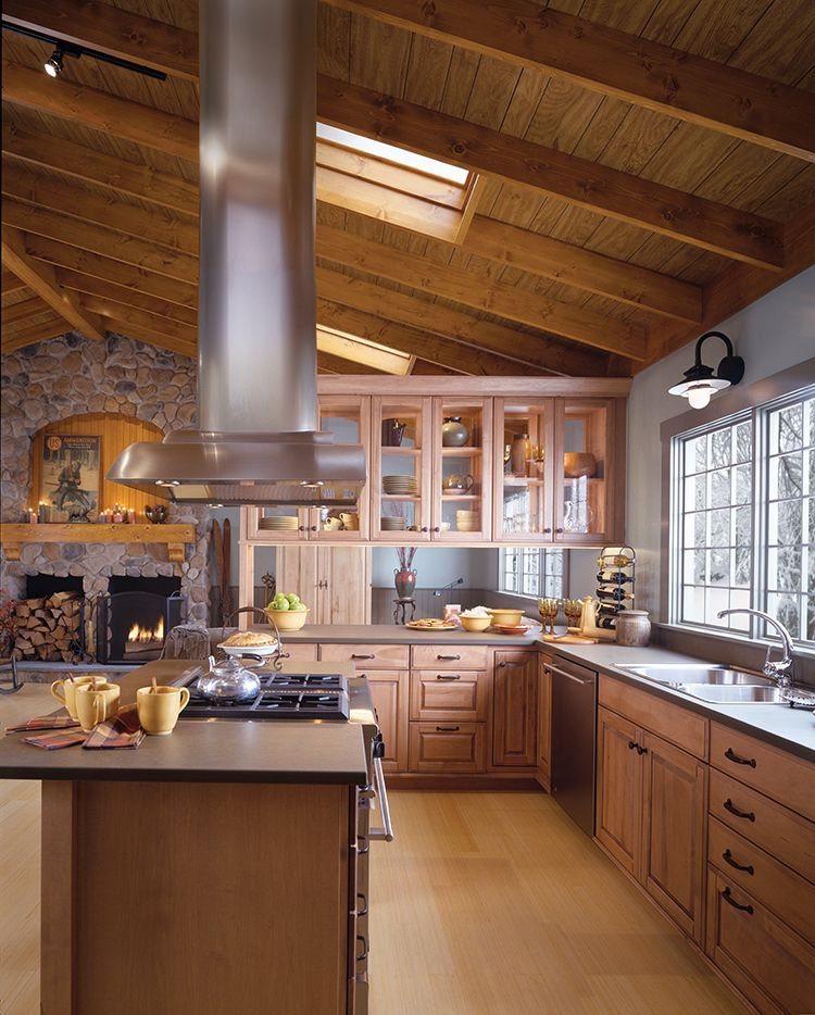 Rustic Getaway Kitchen By Woodmode Shown In Driftwood Finish On Heartwood Maple In Andover Raised Door Style Kitchen Remodel Kitchen Design Wood Mode