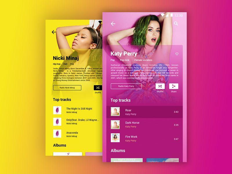 Google Play Music Artist Page Google Play Music Music Artists Mobile App Design