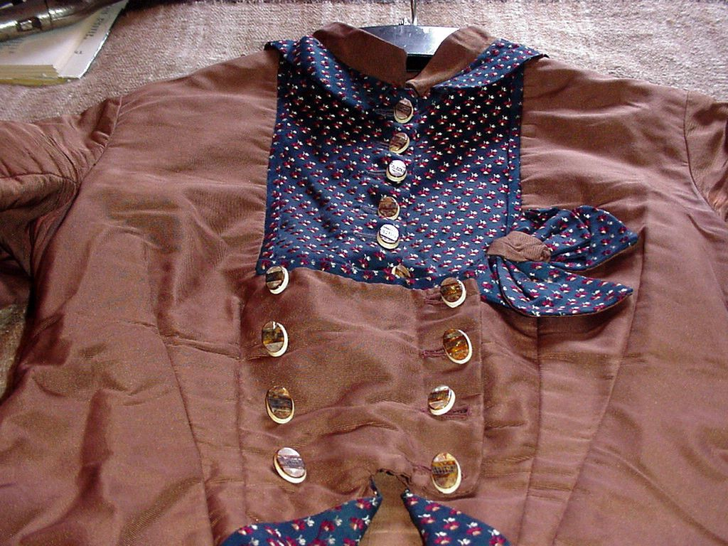 Antique Silk Victorian 2 PC Brown Blue Brocaid Bustle Dress Abalone Buttons | eBay