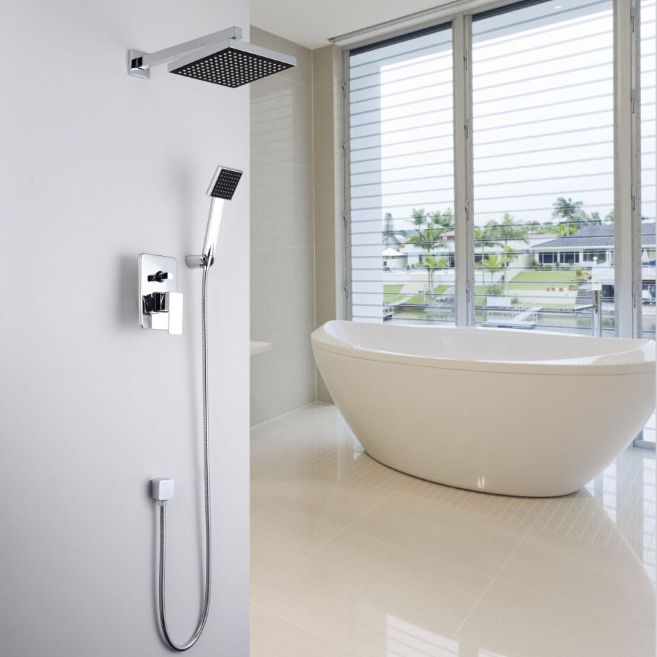 Concealed Shower Set. In Wall Shower Faucet. 8 inch (20 cm) square ...