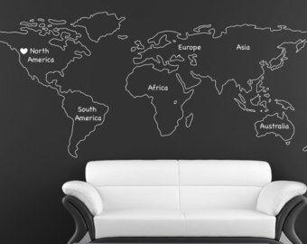 World Map Wall Decal Vinyl Wall Sticker Decals Home Decor Art - Wall decals map