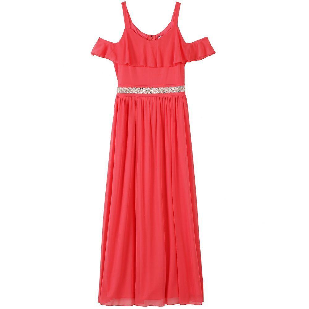 7b14a395c329f5 Girls 7-16 Speechless Ruffle Top Cold Shoulder Maxi Dress