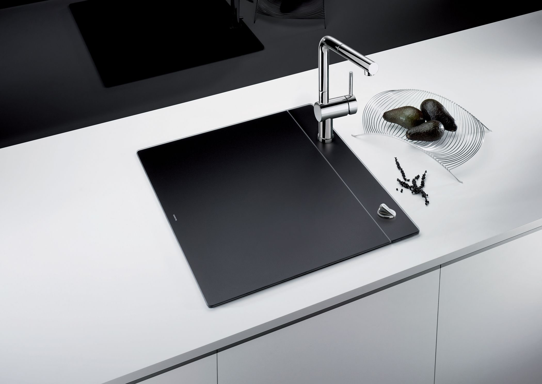 kitchen sinks blanco kitchen sinks The award winning BLANCO CRYSTALLINE in black sink vanishes when not in use to give small kitchens more counterspace