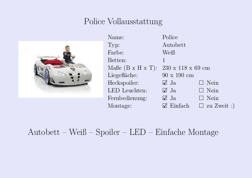 Kinderbett auto weiss  Police #Kinderbett #Jungs #Auto #Weiß #Fernbedienung #Heckspoiler ...