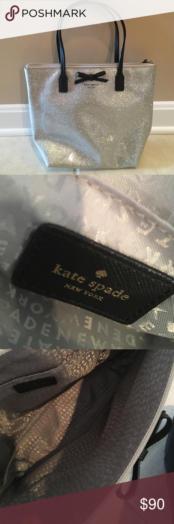 Kate Spade purse Kate Spade- Authentic purse- tote. Sparkle- one zip black leather handle. Used once. Perfect condition. kate spade Bags Totes