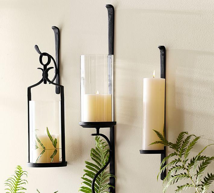 Artisanal Circular Wall Mount Candle Sconce Iron Set Of