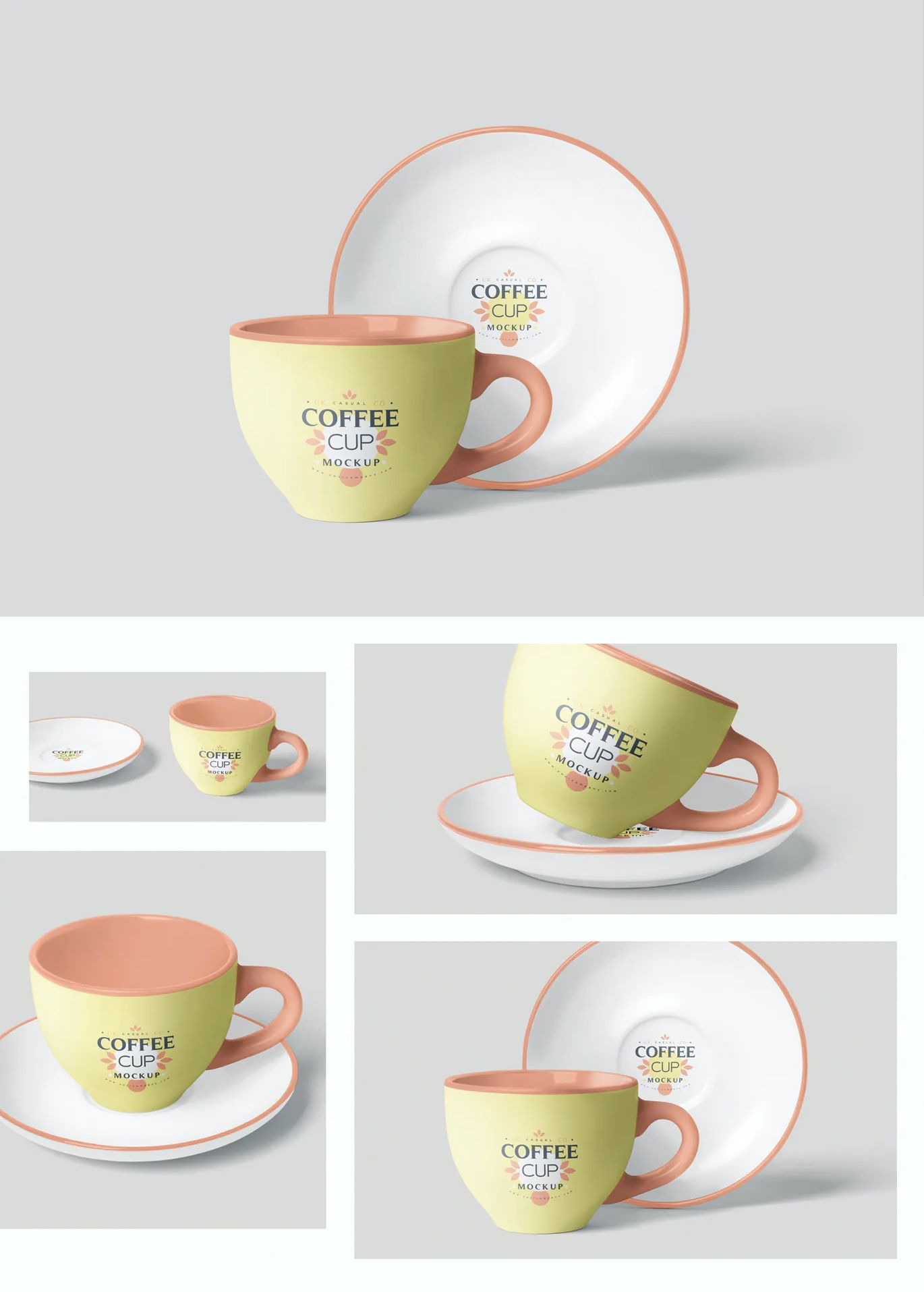 Coffee Cup Mockup Set With Saucer Cup Coffee Cups Saucer