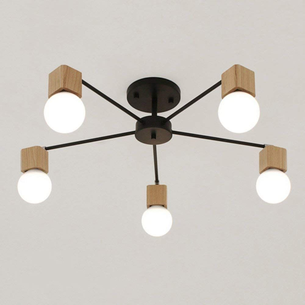 Nordic Minimalist Creative Ceiling Light Metal E27 Wood 5 Light