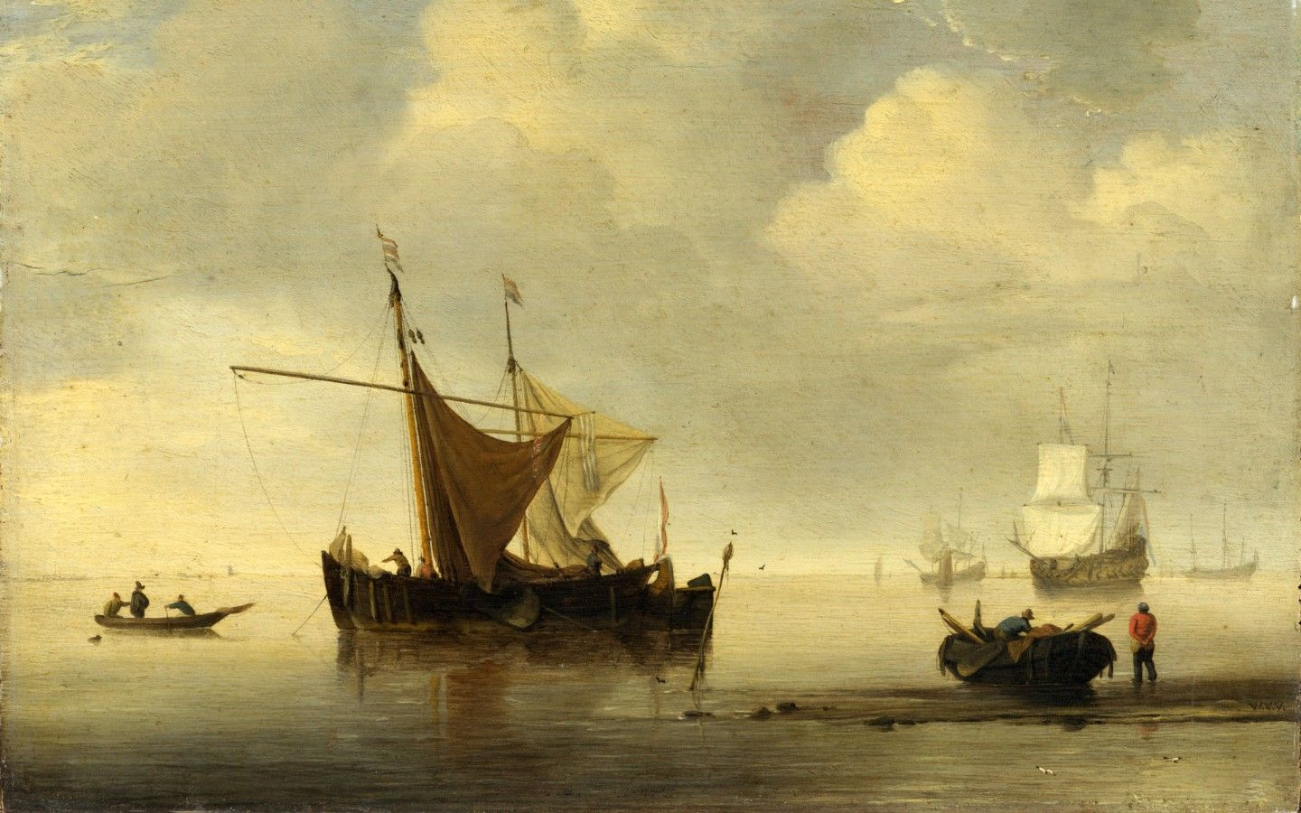 Oil Painting Studio Of Willem Van De Velde Calm Two Dutch Vessels Printing On High Quality Polyster Canvas 24 X 32 Inch 61 81 Cm The Best Basement Decor