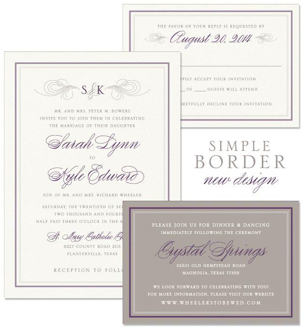 Simple Border Wedding Invitation By The Green Kangaroo Inc