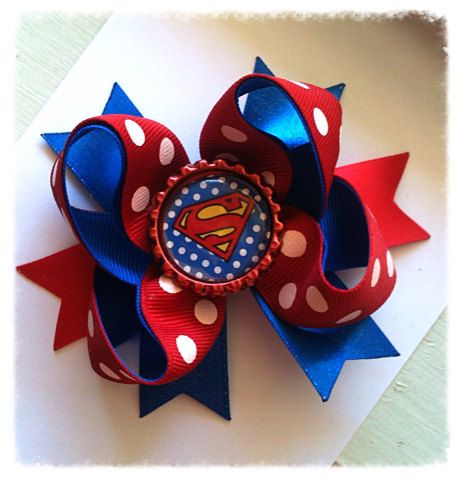 Baby Boutique Mini Bow/ Superman stacked baby bow