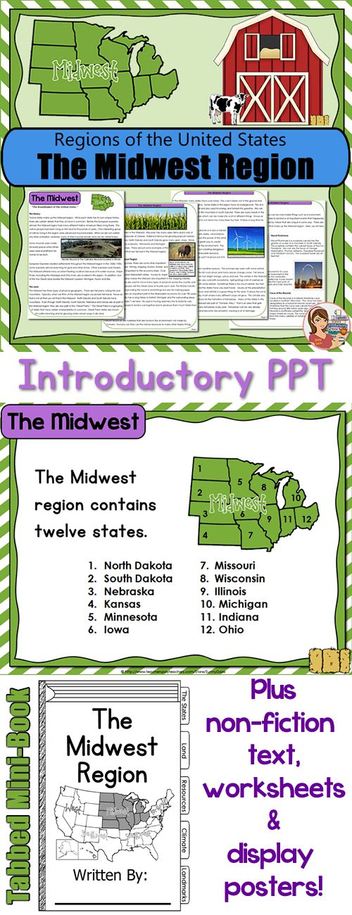 Midwest Region Comprehensive resource including PowerPoint – Regions of the United States Worksheets