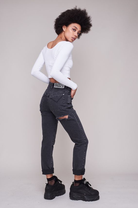 48943414b5f5 BUTT CUT JEAN – CHARCOAL – The Ragged Priest Cut Jeans, Jeans Fit, High