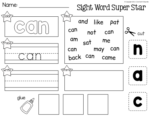 This Is A Worksheet For Learning The Sight Word Can Students Will Practice Reading Spellin Sight Words Kindergarten Sight Word Worksheets Sight Word Practice