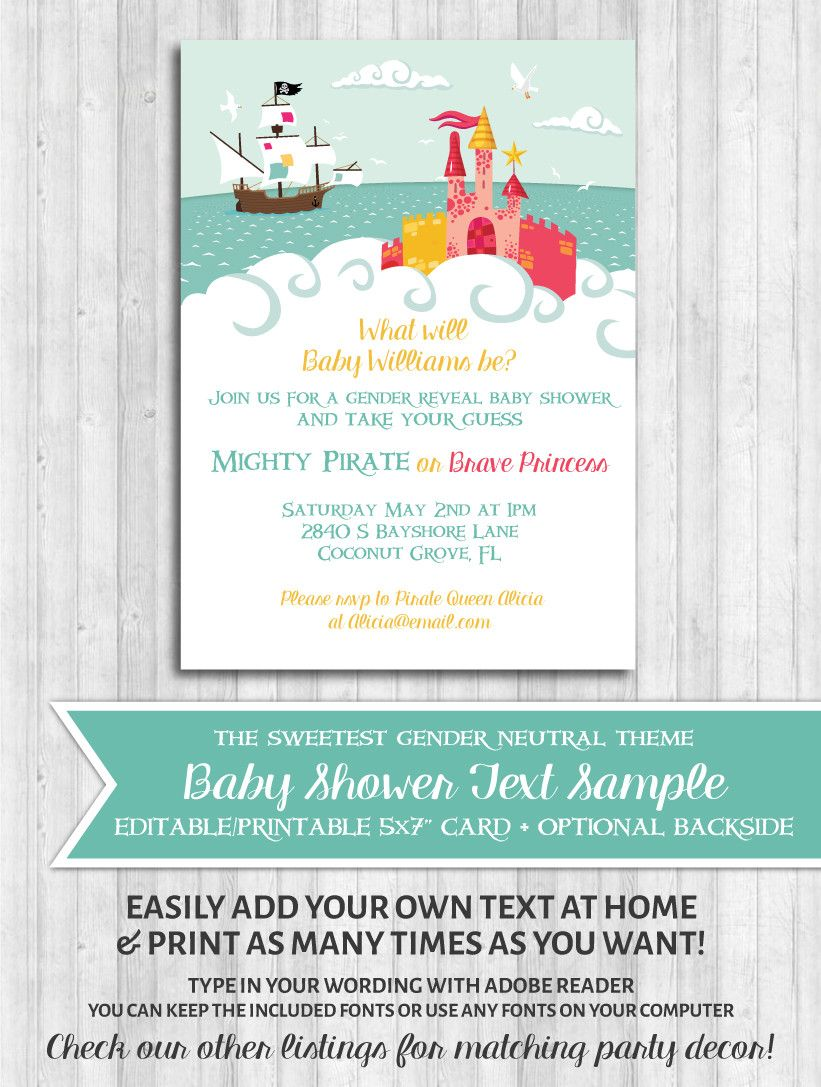 Princess & Pirate Printable Invitation | Shower invitations
