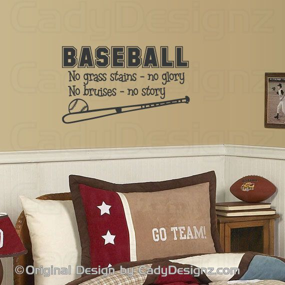 Baseball Vinyl Wall Decal Sports Wall Decals Childrens Nursery - Vinyl wall decals baseball