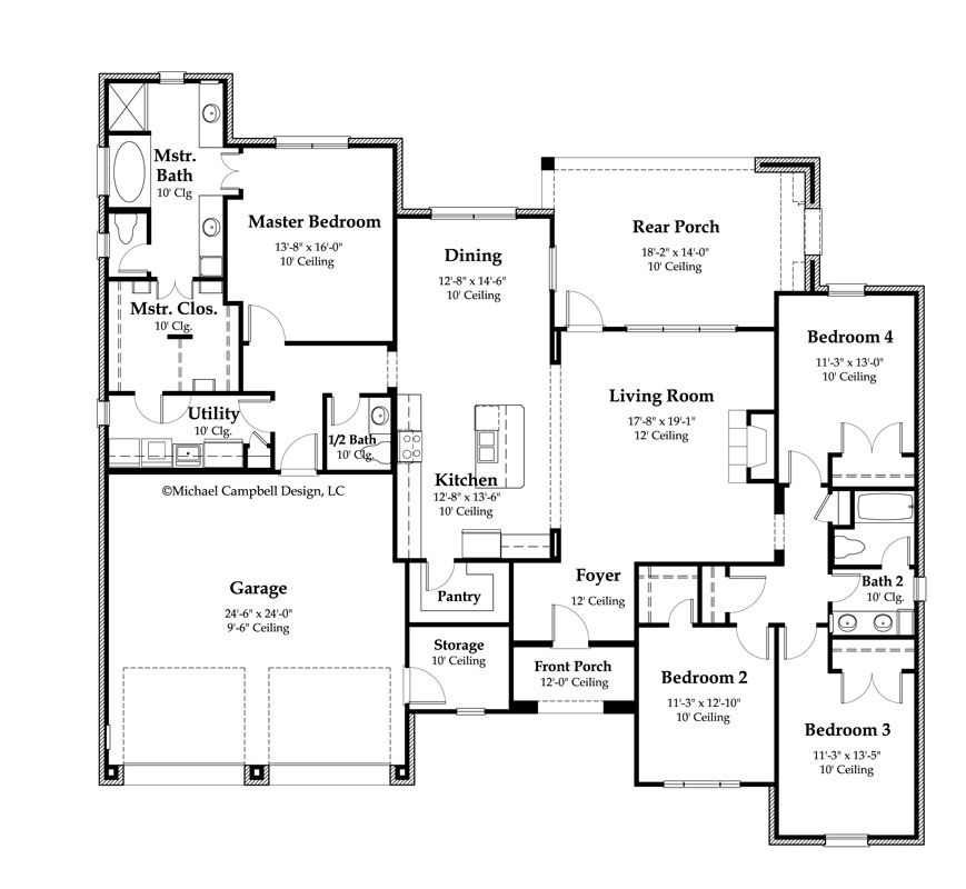 2000 Sq FT Floor Plans Plan South Louisiana House Plans