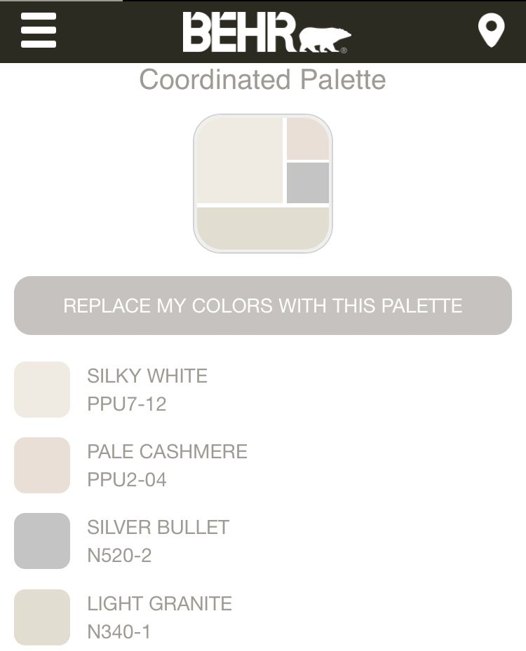 Behr Silky White Coordinated Palate Paint Combinations Granite Paint Behr Paint