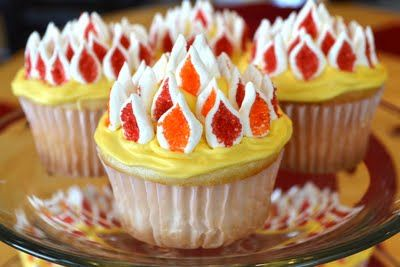 Pentecost cupcakes with easy marshmallow flames- brilliant!