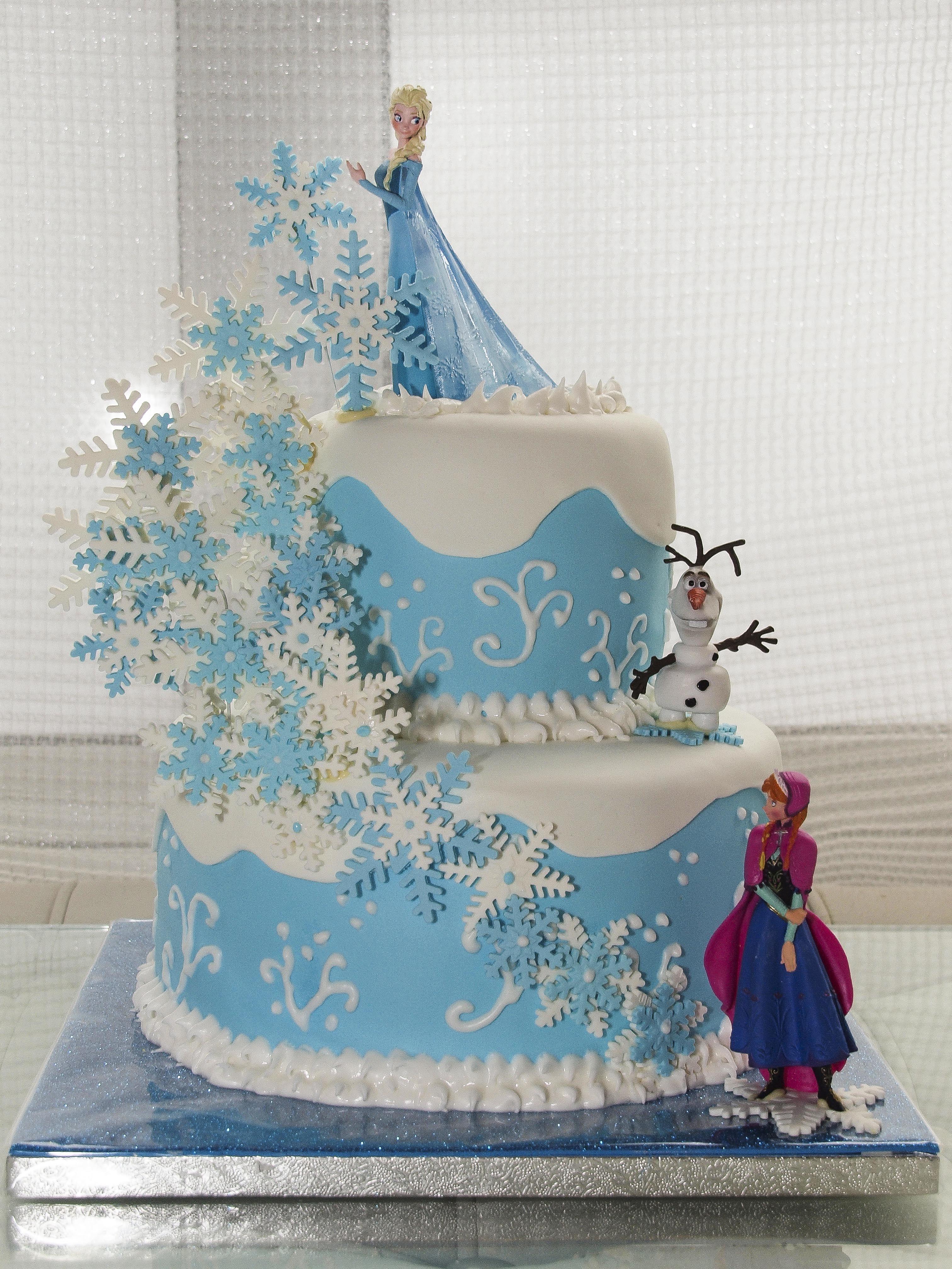 Pastel Frozen Copos De Nieve Pastel Con Cobertura Y