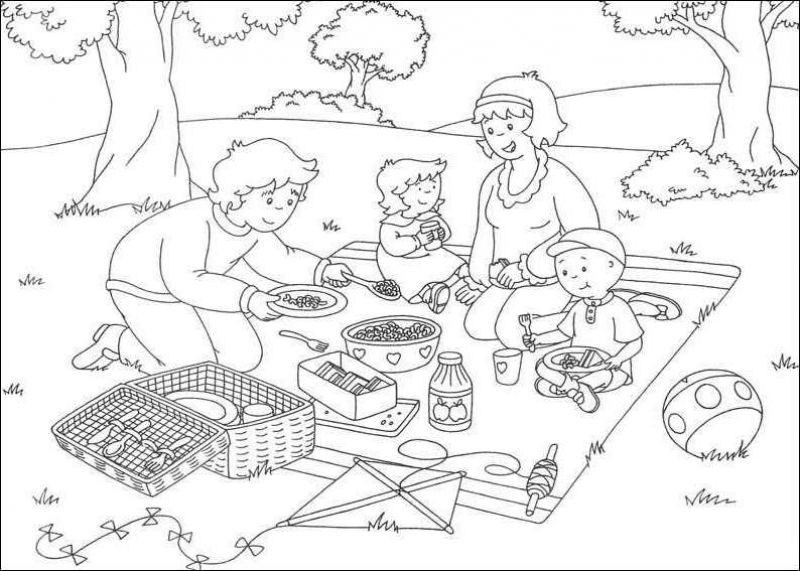 рисунок пикник с семьей работает
