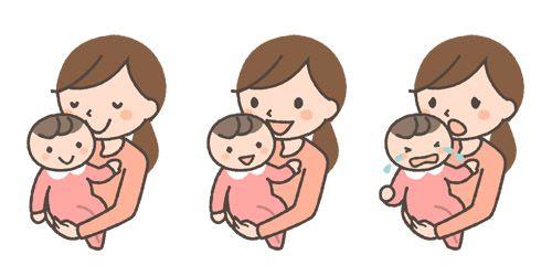 子どもを抱っこするママの表情イラスト3種 イラスト 表情 イラスト 人物 イラスト