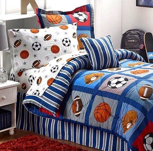 Boys Sports Patch Football Basketball Soccer Balls Baseball Blue Comforter Set Twin Size 6pc Bed In A Bag Y Sports Bedding Football Bedding Sports Comforter