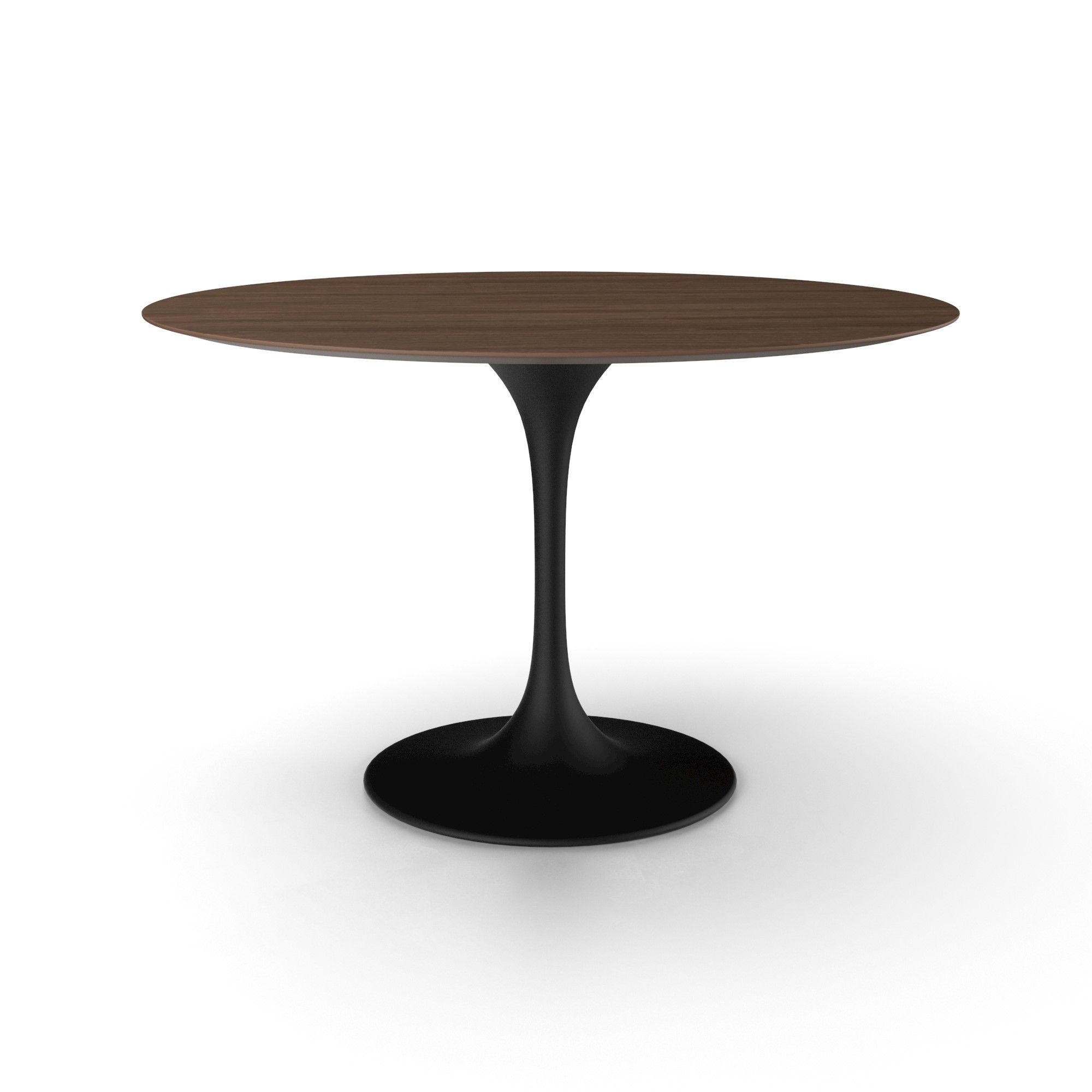 Bloom Round Dining Table  American Walnut 48 Black Matte