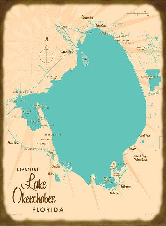 Lake Okeechobee FL Canvas Print Lakes Buckets and Honeymoon trip