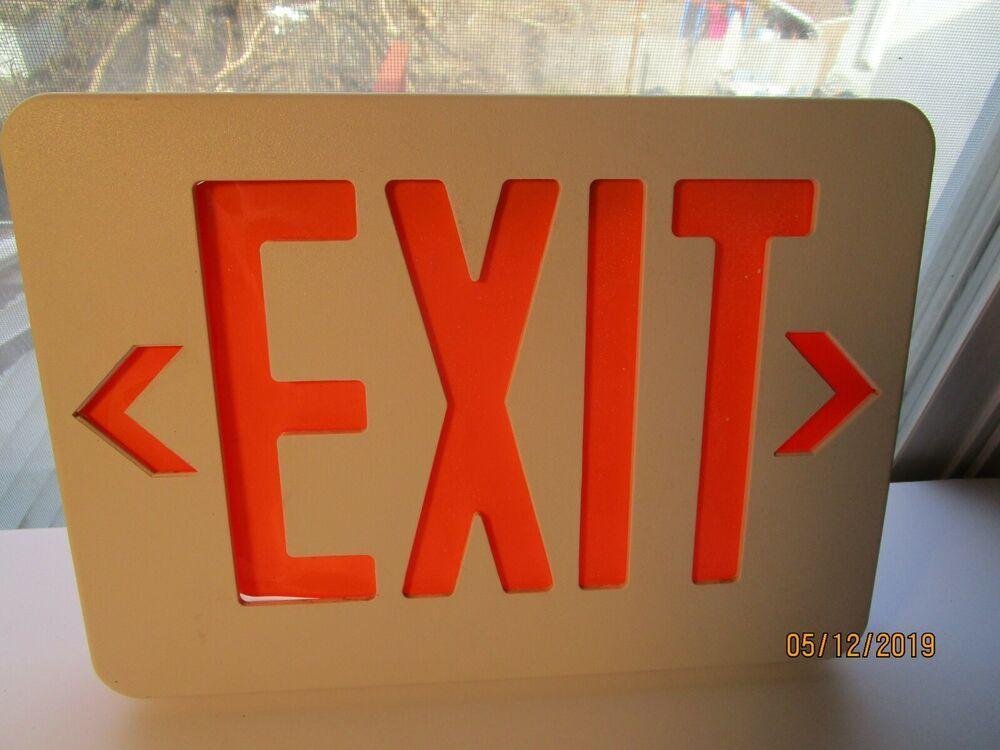 exit sign orange white plastic exit