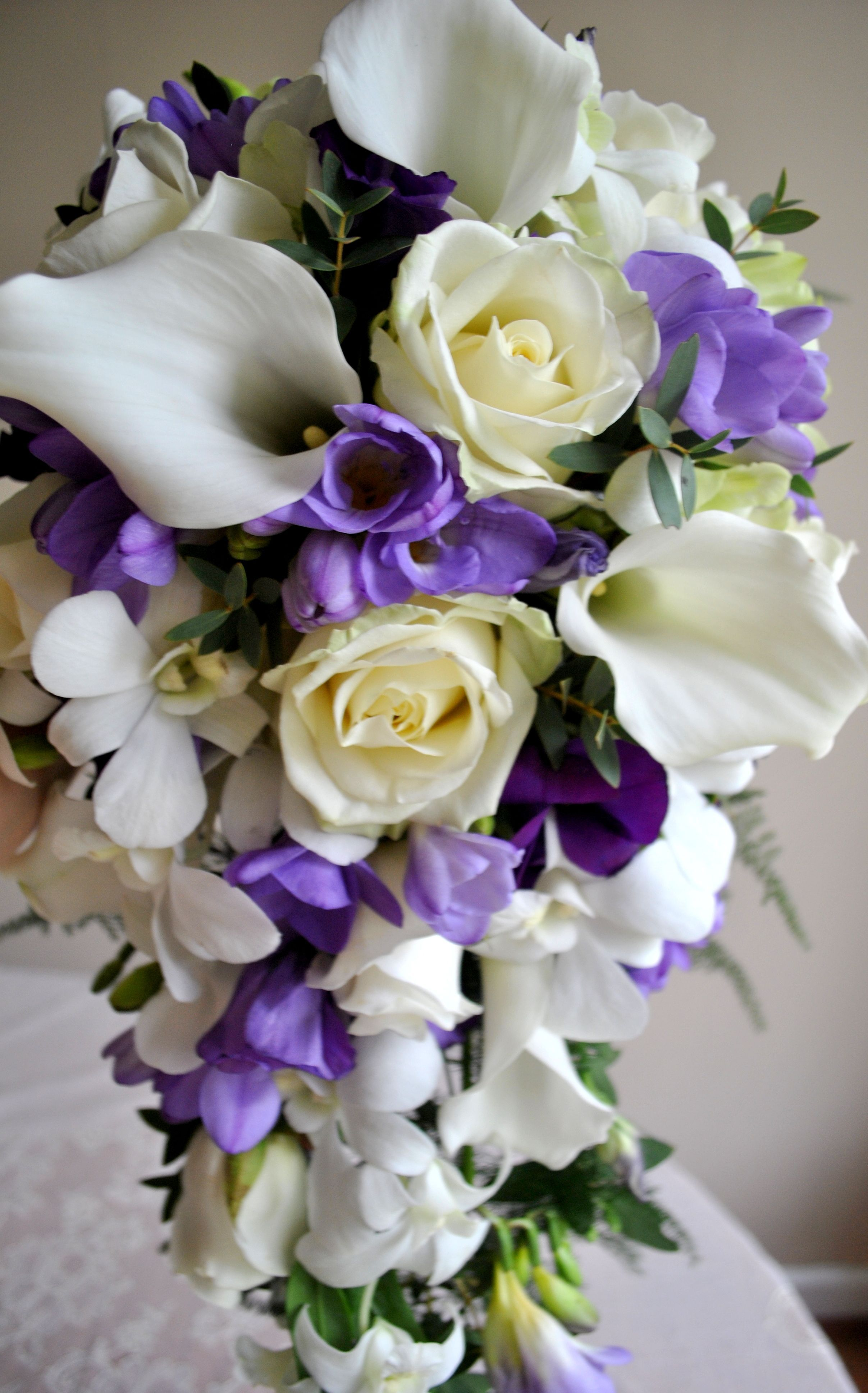 Purple Aster Wedding Bouquet Purple And White Wedding Flowers