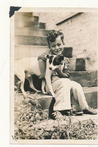 Vintage photo of a boy & his rat terrier