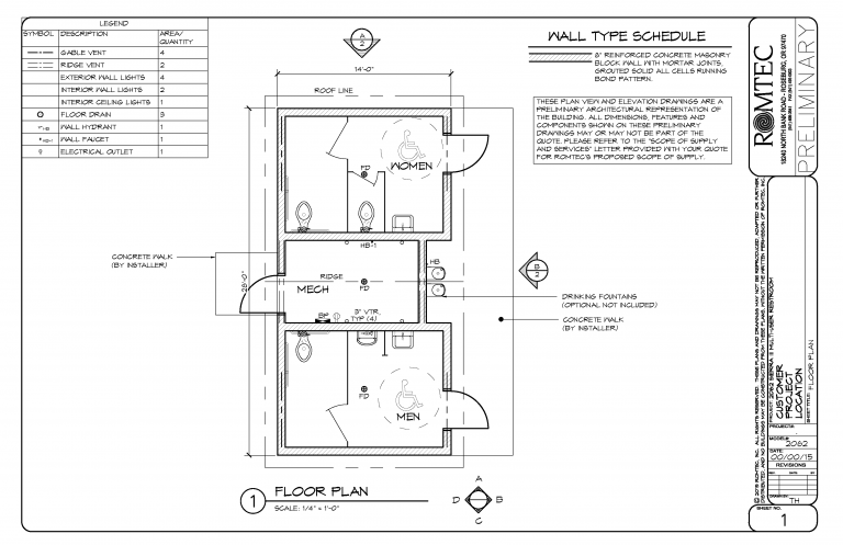 floor plan of small multi user restroom with larger mechanical room