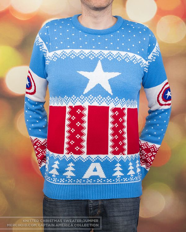 Affiliate Link Captain America Knitted Christmas Sweaterjumper