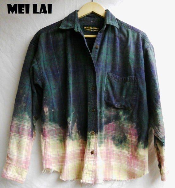 Bleach the bottom of a men's flannel shirt. #thriftstorefinds