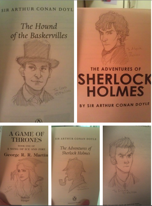 Love this idea. Drawings inside of books as a gift!
