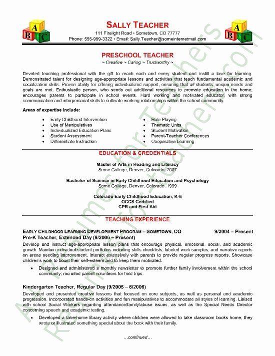 free sample resume for teachers new teacher resume
