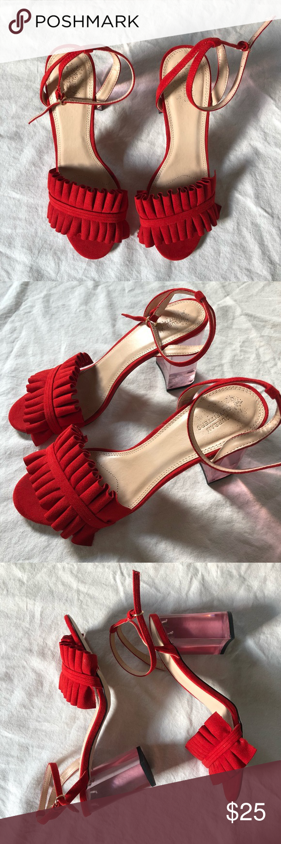 f461f68c0b4 UO Red Ruffled Heels Urban outfitters Rachel lucite red ornate shoe with  clear heel. Ruffled strap across toes with skinny adjustable ankle strap.