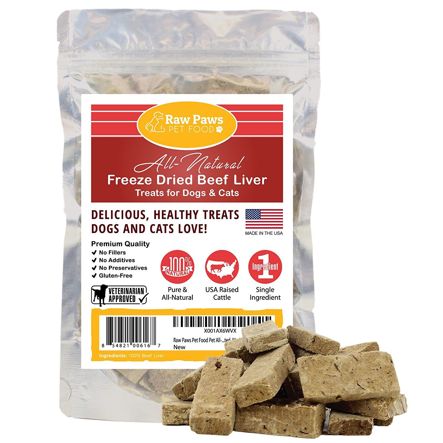 Raw Paws Pet Premium Freeze Dried Beef Liver Treats for